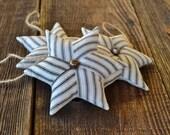 Star Pinwheel Ornaments - Christmas Tree Decorations - Retro Xmas Decor - Black Ticking Doorknob Hangers - Holiday Decor - Bell - Osnaburg