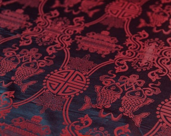 silk cloth-chinese traditional vintage longlife double fish gourd red green silk cotton fabric one yard