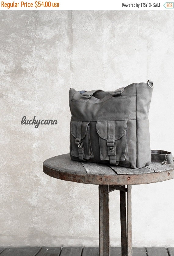 Summer Sale 20% OFF// BAILEY // Dark Grey / Lined with Dark Grey / 021 // Ship in 3 days // Messenger / Diaper bag / Shoulder bag / Tote bag