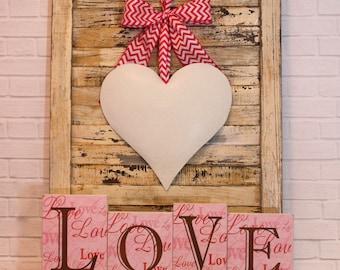 Valentine Wreath - Heart Wreath -Door Wreath - Choose Bow--Quick Ship - Quick Ship