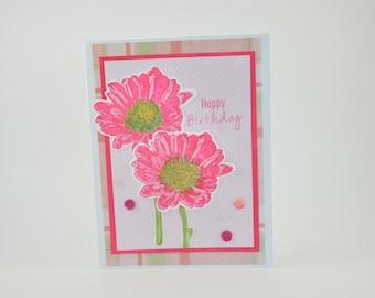 Birthday Card Hot Pink Daisies