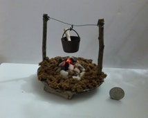 Stone Cooking Hearth with LED  Fire Light and Hanging Pot For Fairy Garden or Dollhouse