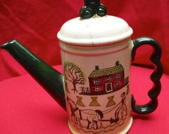 Teapot Metlox Poppytrail Homestead Farmhouse small coffeepot Vintage pottery folk farm motif farmstead retro kitchen serving Amish farming