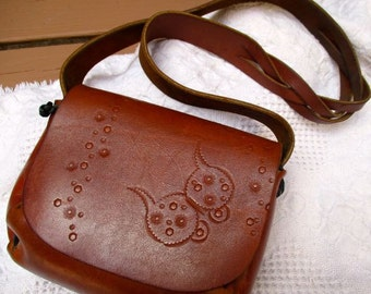 Vintage leather purse handbag hand tooled hand stitched decorated front fold flap closure brown small boho hippie shoulder long strap