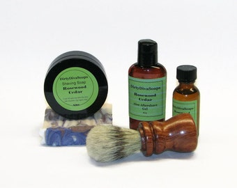Large Mens Shaving Gift Set Rosewood and Cedar with Handmade Shaving Brush, Shea butter Soap, Shave Soap, Pre Shave Oil and Aftershave