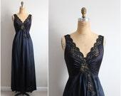 Vintage 70's Nightgown Black Slip Dress. Full Slip. Wedding Slip. Lace lingerie. Size S/M