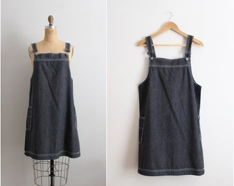 90s Black Denim Overall Dress / Pinofore/  Denim mini Pinafore Dress / Size M/L