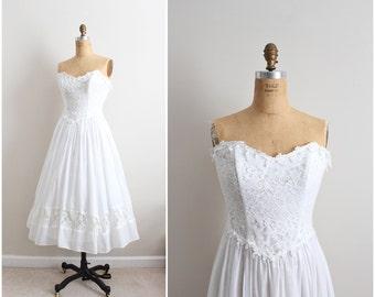 Gunne Sax Wedding Dress /  Vintage 50s Style Lace Wedding Dress / Lace Boho Wedding / Wedding Midi Dress / Size XS-S