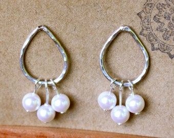 Silver and bead earrings