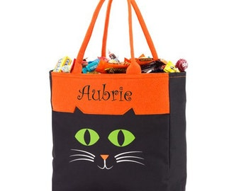 Personalized Cat Halloween Tote [Halloween, trick-or-treating, treat bag, candy bag, cat tote, cat treat bag, kids] - gfyE10613286