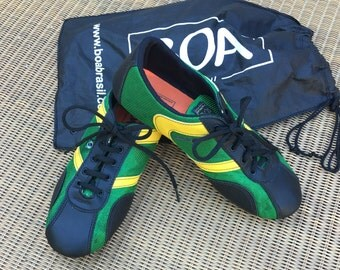 Green Yellow and Black Athletic Shoe by BOA Brazil with Bag Size 8 M