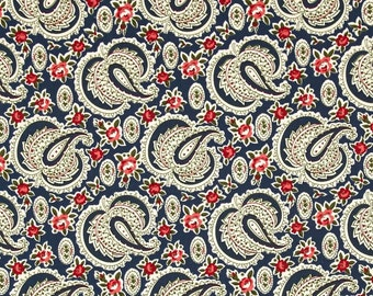 78090 - Verna Mosquera Indigo Rose Paisley Path in midnight color PWVM136 - 1 yard