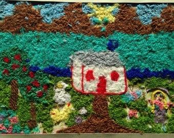 Vintage Syrian Childrens artwork fiber art from UNESCO art showing