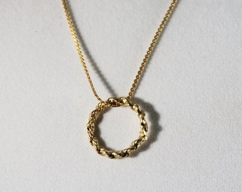 Golden Chain With Golden Circle Pendant Long Necklace