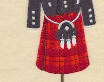 Scottish Male Dress Form Embroidered Flour Sack Hand/Dish Towel