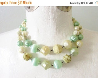 SaLe Vintage Multi Strand Green Beaded Necklace Mid Century 1950s
