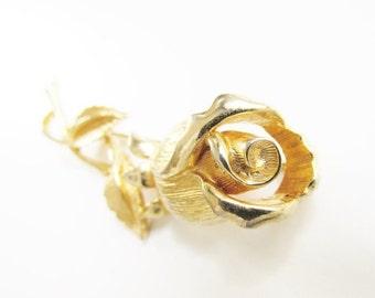 SaLe Vintage Rose Flower Brooch signed Prestige Gold Tone