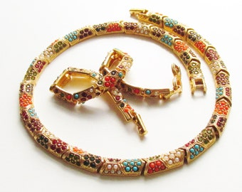 Vintage D'Orlan Buried Treasure Rhinestone Bead Necklace Bracelet Gold Filled