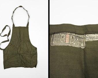 Vintage 1910s Machinst Work Apron Kuttnauer Apron Specialties Detroit OD Twill
