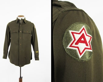 Vintage US Army Chinstrap Shirt Olive Drab Wool Gab WW2 Officer's Shirt - Medium