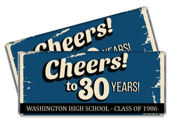 Set of 12 - High School Reunion Candy Bar Wrappers - 10th, 20th, 30th, 40th Personalized Reunion Favors - Also great for college reunions