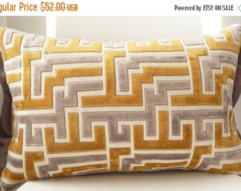 Gold and Gray Geometric Lewis and Sheron Decorative Pillow Pandora/Gold in geometric-abstract design