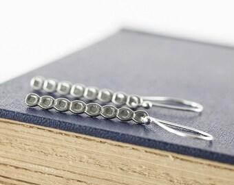 Sterling Silver Bar Earrings, Bar Dangle Earrings, Flat Dots, Long Thin Silver Earrings, Artisan Jewelry, Bohemian Jewelry, Handcrafted