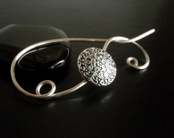 Shawl Pin, Scarf Pin , Button brooch, Wire Wrapped Jewelry, Pin for knitters, Wirework