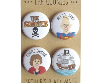 The Goonies, The Goonies magnet, Goonies badges, Sloth and Chunk