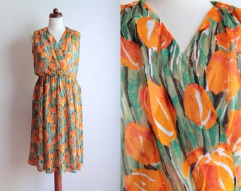 Vintage 1970's Dress - orange Tulip Dress - Floral Garden Party Dress - Size S