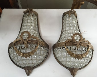 Free Ship. Pair of petite sconces. Fig House Vintage Design. French Basket Sconces as seen on Fixer Upper