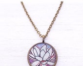 Clearance Sale LOTUS FLOWER NECKLACE Bronze - Yoga Necklace Om Lotus purple art Yoga Jewelry