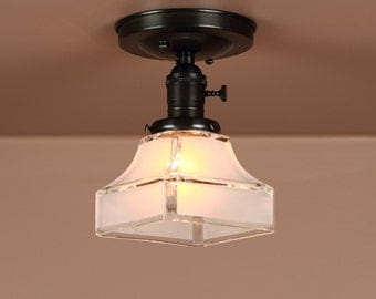 Semi Flush Lighting  w/ Mission Etched Square Edge Glass Shade - Oil Rubbed Bronze - Lighting for Low Ceilings - Downrod Option