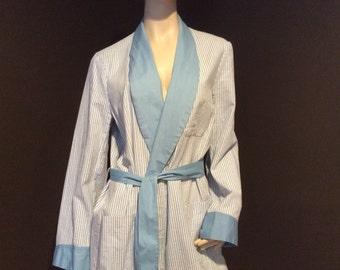 Vintage Darwin Men's Light Blue and White Pinstriped Cotton Robe, Vintage Boyfriend Robe, Men's Loungewear, Vintage Men's Clothing