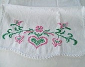 Vintage Table Runner / Embroidered Table Runner / Dresser Scarf / Pink Hearts / Cross Stitch / White Cotton Runner / Valentines Day Decor