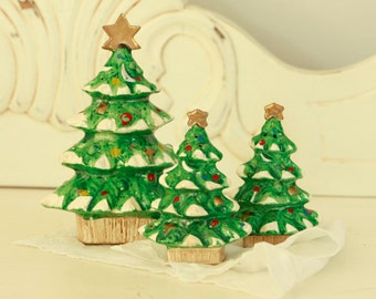 Christmas Salt and Pepper Shakers Plus One -Vintage Christmas Decorations for the Kitchen - Three Ceramic Christmas Trees