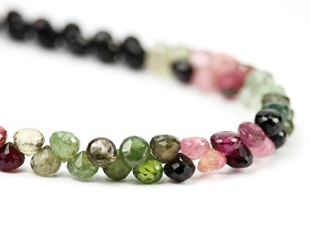 Tourmaline Faceted Onion Briolettes 6 Pink Green Yellow Semi Precious Gemstones