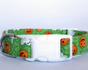 Handmade Cotton Dog Collar - Ghosts and Pumpkins