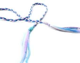 Fairy Hair Headband, long braid hair extension, Boho hairpiece, pink purple white hair, free spirit, halloween hippie costume, party hair