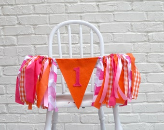Girl 1st Birthday banner - girl PUMPKIN Birthday - Pumpkin Birthday Party - fall birthday banner - girl high chair banner - baby 1st