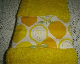 Sunshine yellow hand/dish towel w/lemons, citrus fruit, lemon yellow, orange, green, spring/summer decor, cotton terry, hostess/shower gift