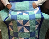 Teal, Blue and White Lovie Lap Quilt with Pockets