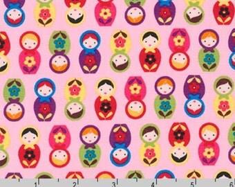 Suzy's Minis - Matryoshka Dolls Pink by Suzy Ultman from Robert Kaufman