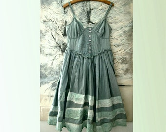 summer dress cotton blue/green upcycled clothing recycled dress romantic style boho