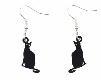 Cat earrings cats Plexiglas black sitting