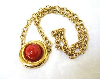 signed MONET Pendant Necklace, red cabochon, heavy chain, unusual clasp Excellent