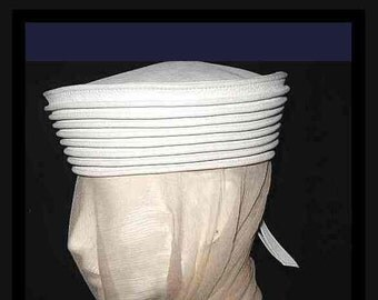 Vintage 1960s - 1970s Ted Lapidus; White Leather Hat Crown; Large Pillbox Sailor