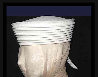 Vintage 1960-70'sTed Lapidus White Leather Hat Crown Lage Pillbox Sailor