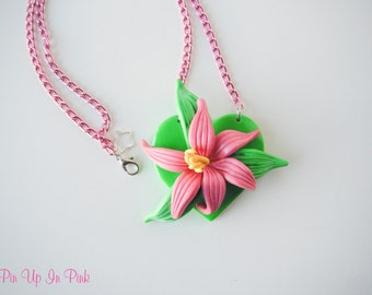 Tropical Lily Necklace-Green and Pink