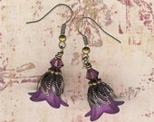 Bead Kit- Sophia's Lilies- Vintage Brass and Amethyst Lucite Flower Earrings with Austrian Swarovski Crystals